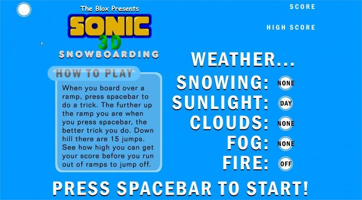 Sonic Snowboard Jeu 3D