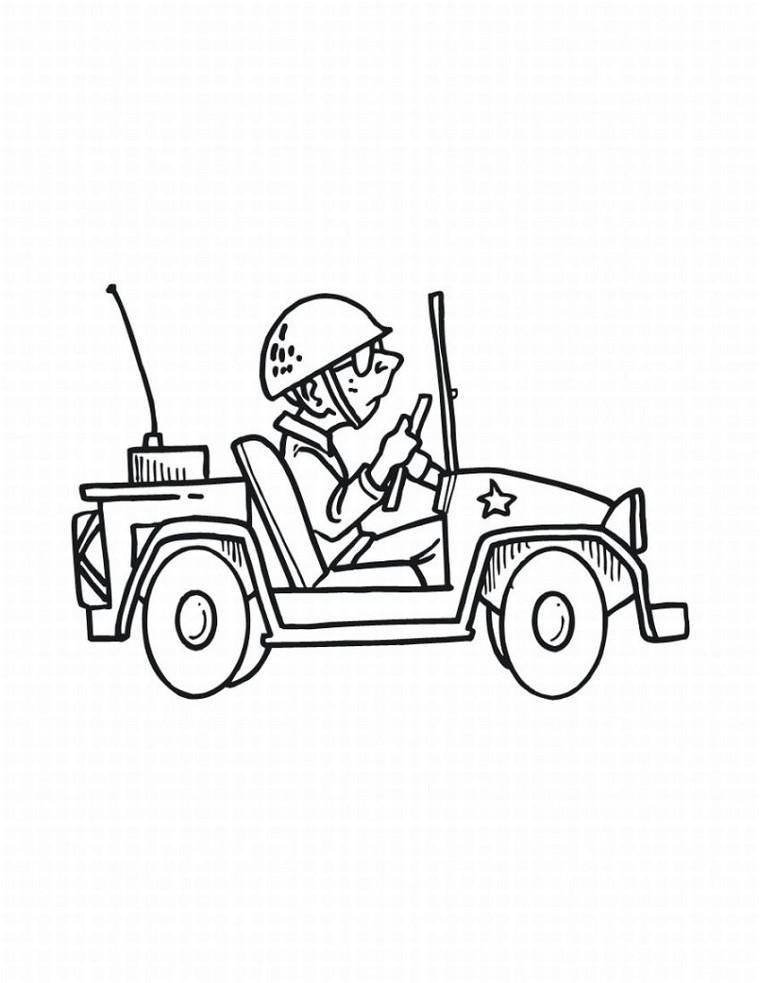 Coloriage militaire à imprimer : voiture de militaire