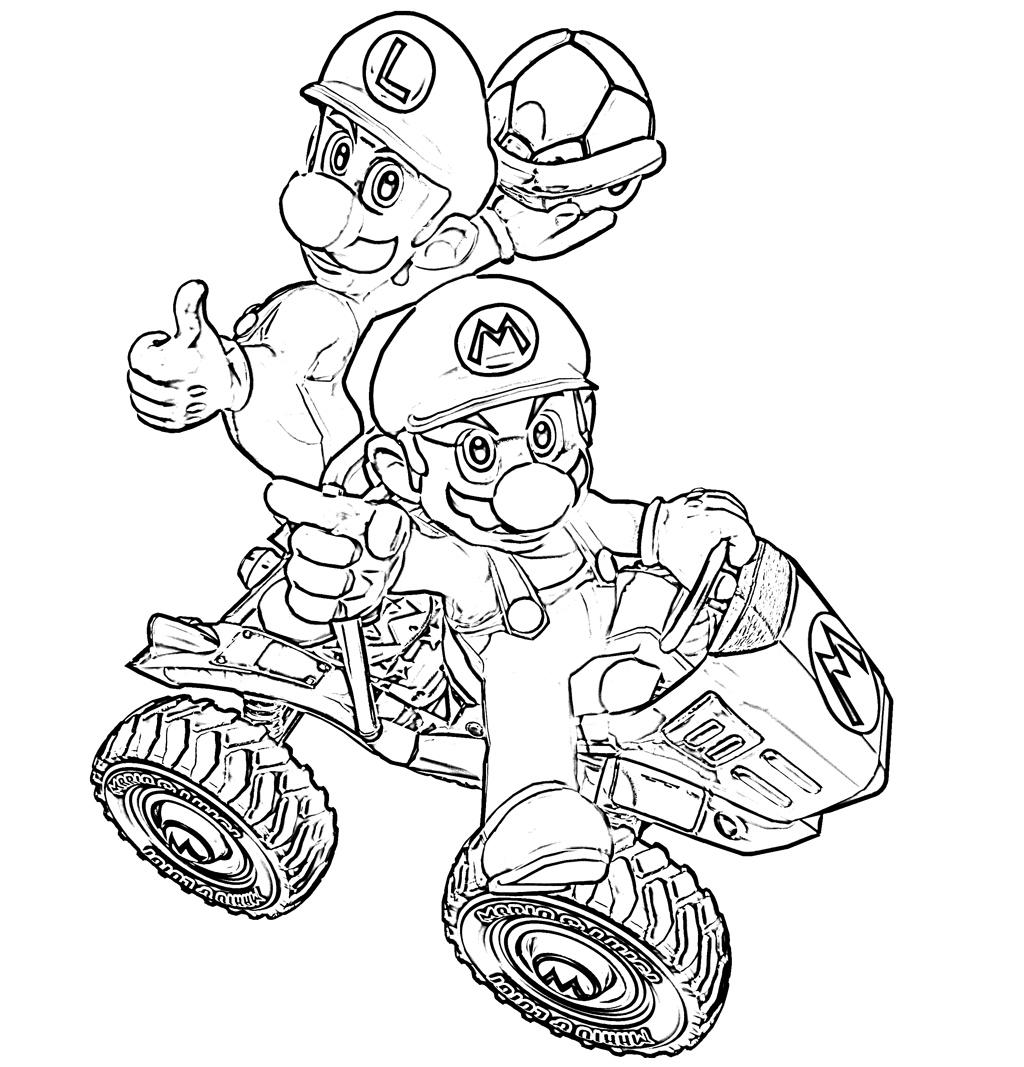 Mario Kart : Coloriage Mario Kart à imprimer gratuit, colorier et dessiner