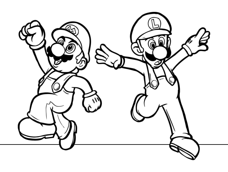 Coloriage De Mario Luigi En Couleurs