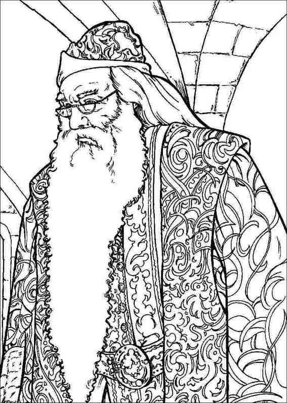 Coloriage Gratuit Albus Dumbledore A Imprimer Et A Colorier