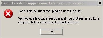 Impossible Supprimer fichier