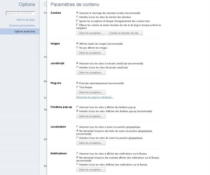 Parametre contenu Google Chrome