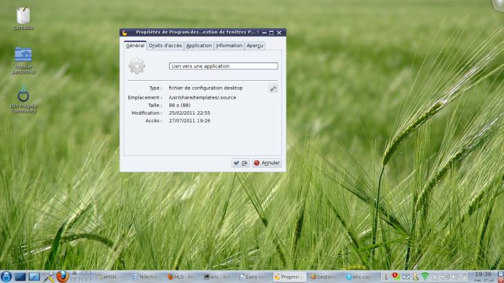 Propriete raccourci linux