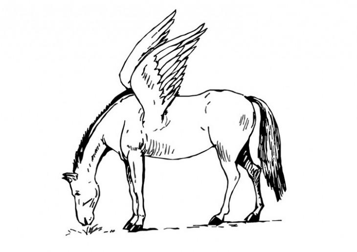 Coloriage cheval avec des ailes