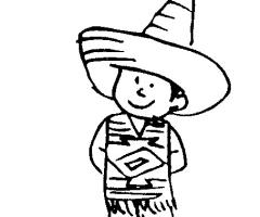 Coloriage enfant mexicain