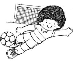 Coloriage Garçon qui joue au football