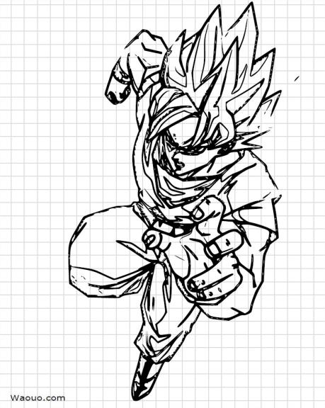 Dragon ball z sangoku dessiner et colorier - Sangoku dessin ...