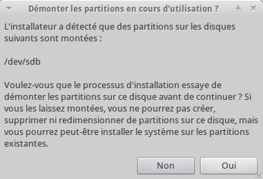 Démontage partition Xubuntu