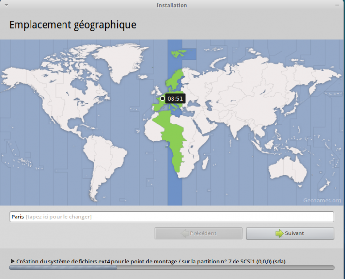 Emplacement geographique Xubuntu