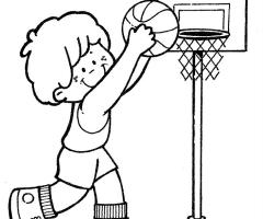 Coloriage Garçon joue au Basketball
