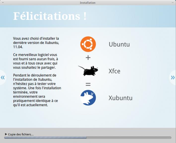 Installation Xubuntu felicitation