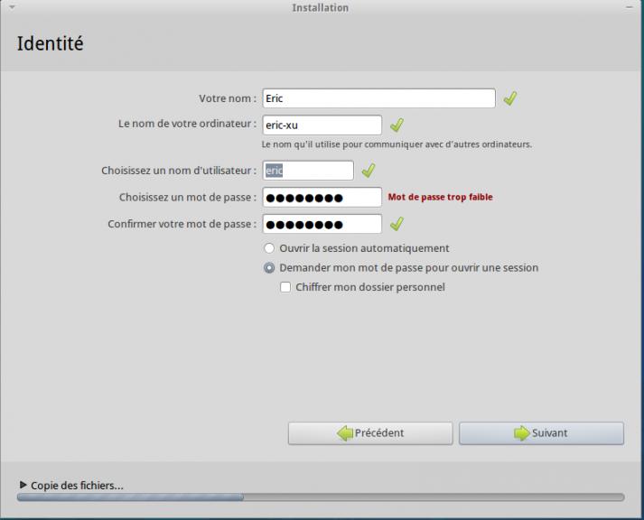 Utilisateur installation Xubuntu