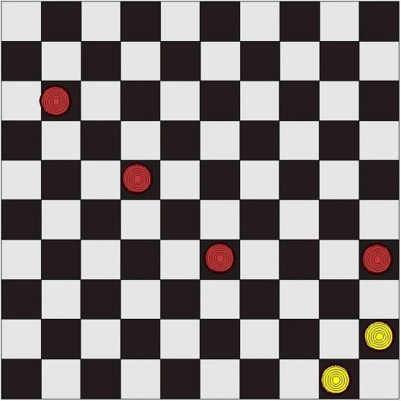 2 pions blancs contre 4 rouges