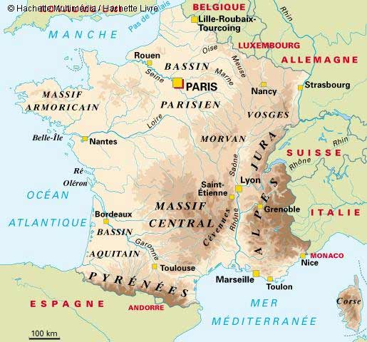 Carte de France Massif