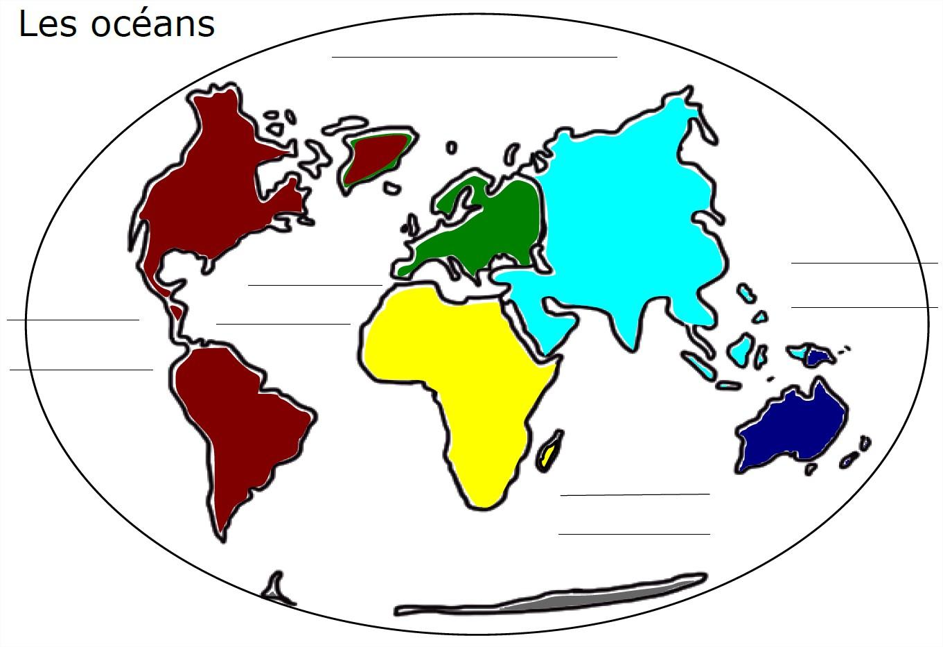 carte du monde avec les ocans complter