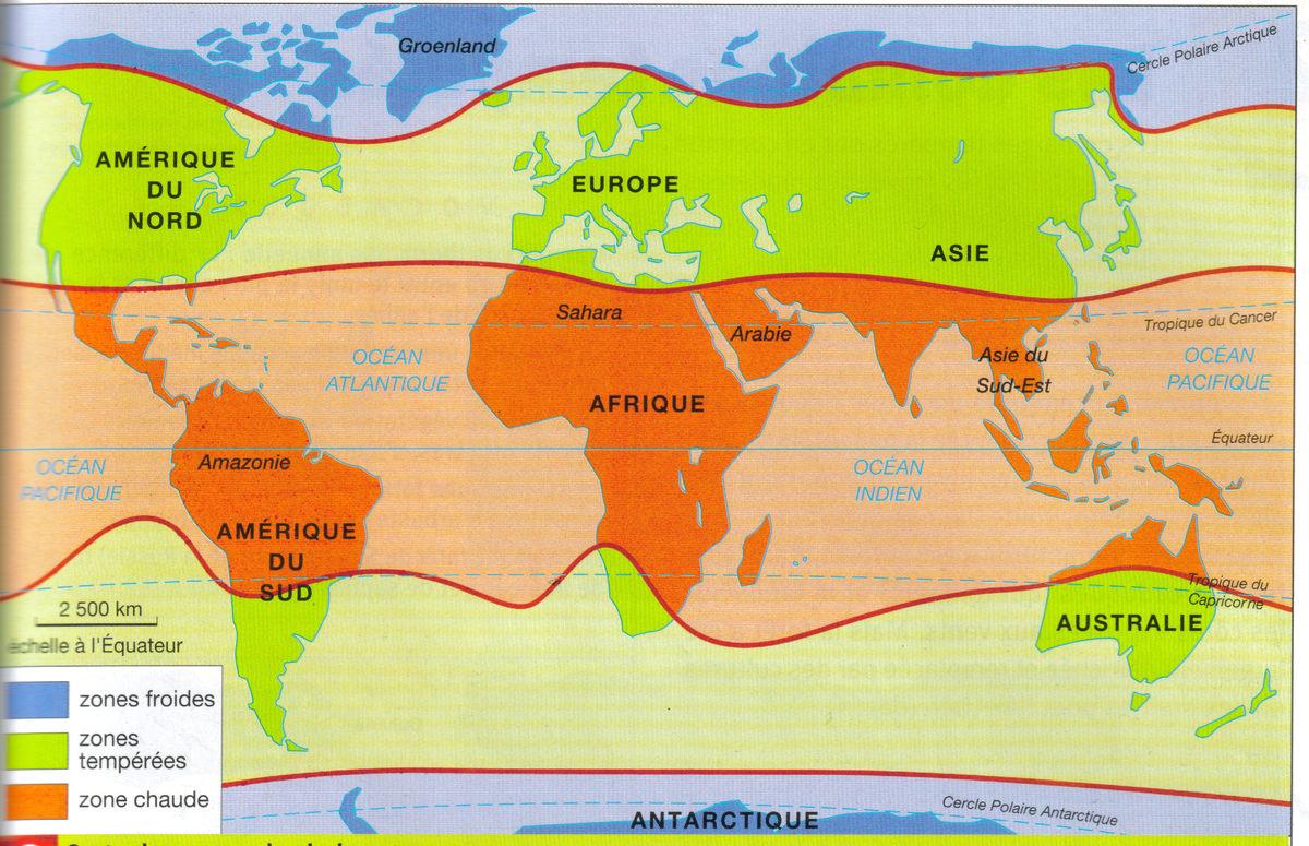 Carte du monde et noms des continents