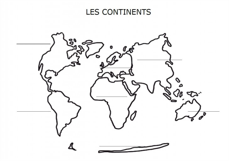 Carte du monde continents