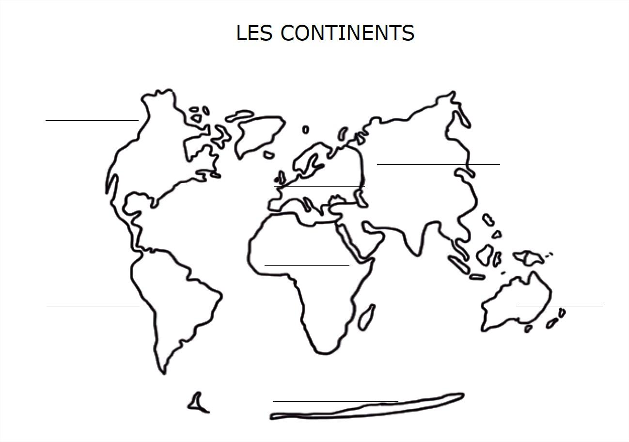 carte du monde avec les continents complter
