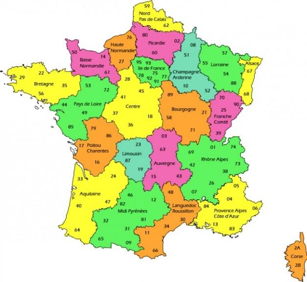 Carte de france avec les r gions compl ter - Region la plus sure de france ...