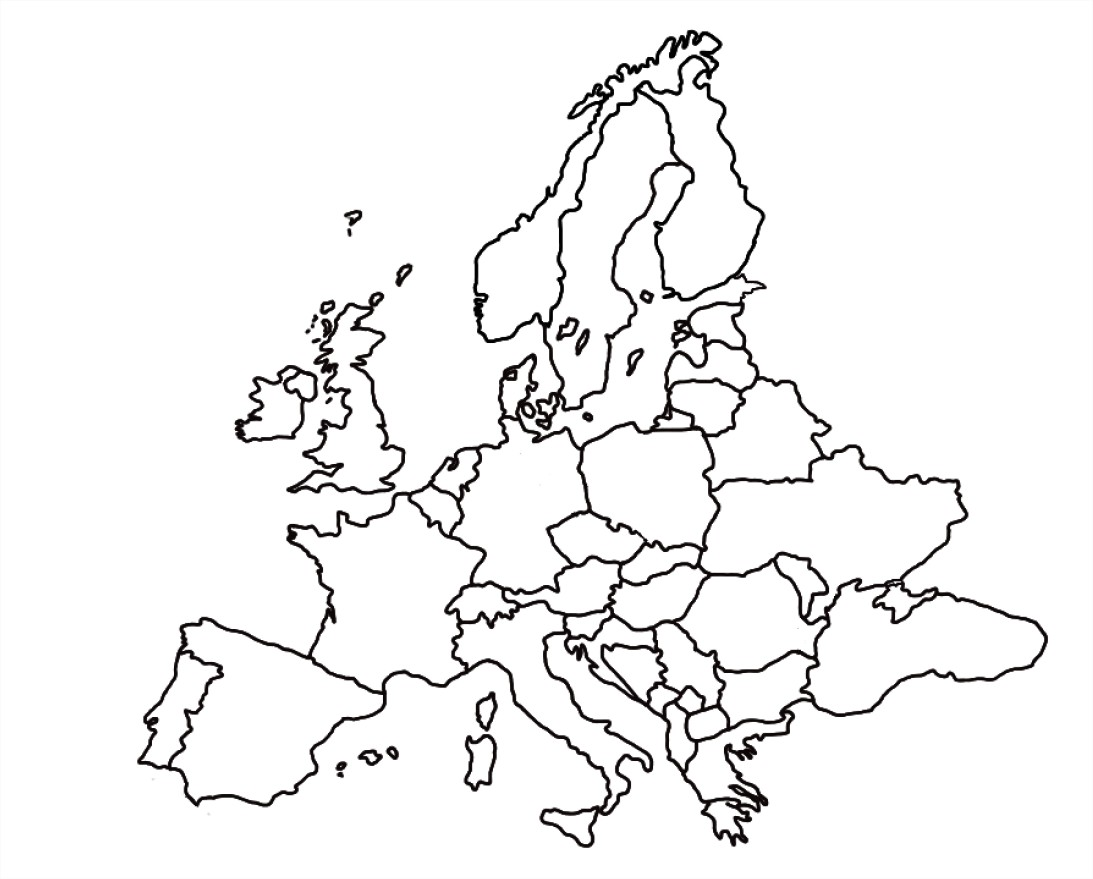 Carte d'Europe : Coloriage carte d'Europe à imprimer et colorier
