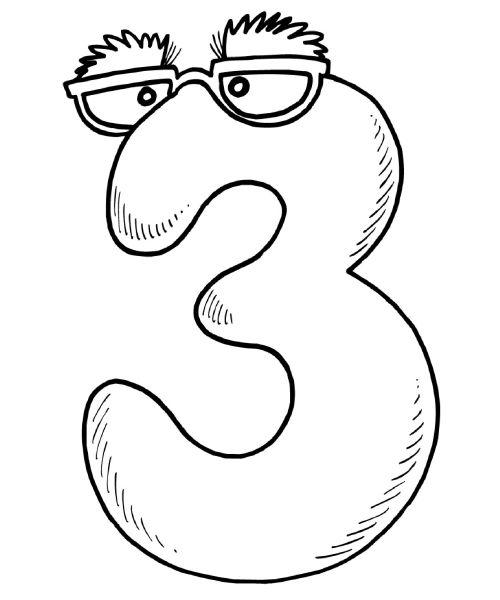 Coloriage chiffre 3 avec des lunettes