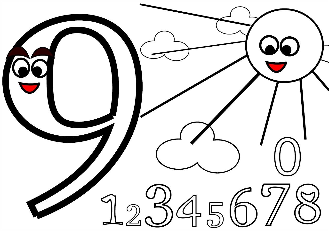 Coloriage chiffre 9