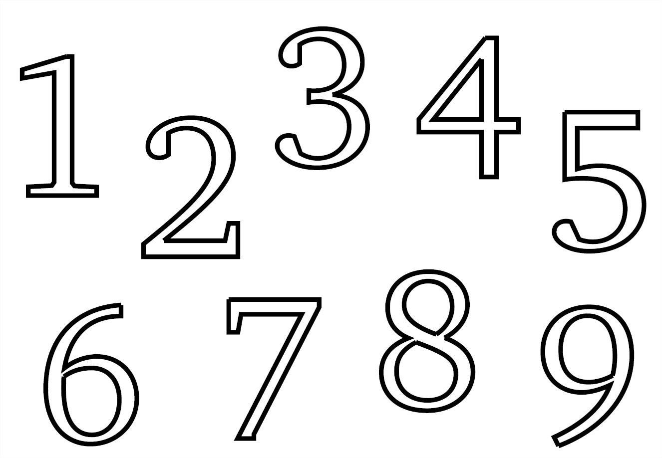 Coloriage chiffres 1 à 9