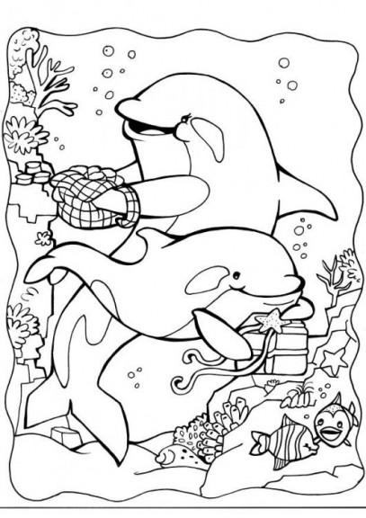 Coloriage de dauphins sous l'océan à imprimer et colorier