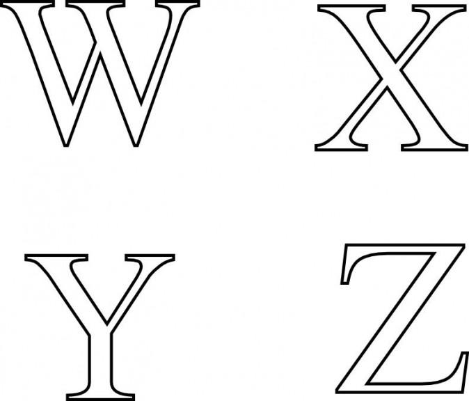Coloriage lettres W à Z