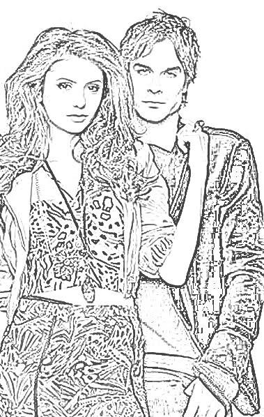 Coloriage Nina Dobrev Ian Somerhalder VampireDiaries