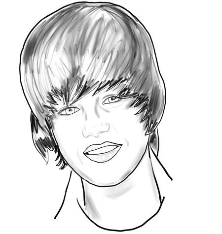 Coloriage visage Justin Bieber