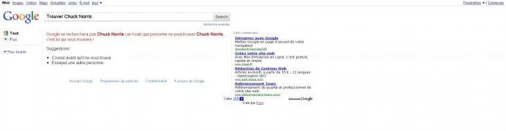 Google trouve pas Chuck Norris