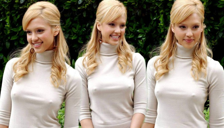 Jessica Alba téton T-shirt transparent