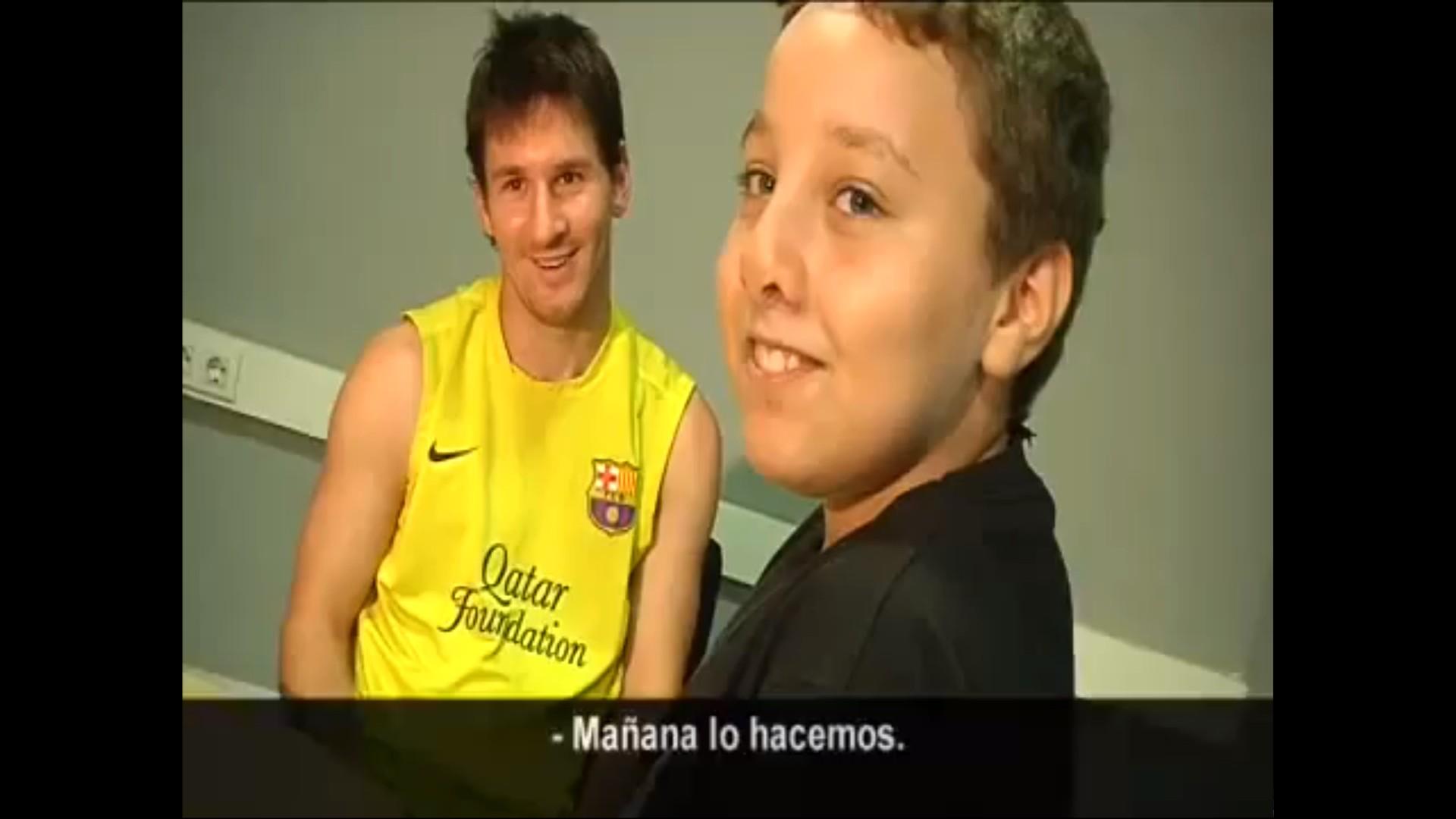 Lionel Messi avec un fan handicape