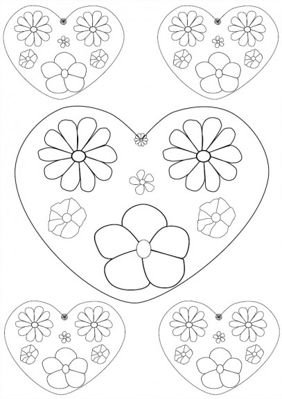 coloriage gratuit de c urs de fleurs imprimer et colorier. Black Bedroom Furniture Sets. Home Design Ideas