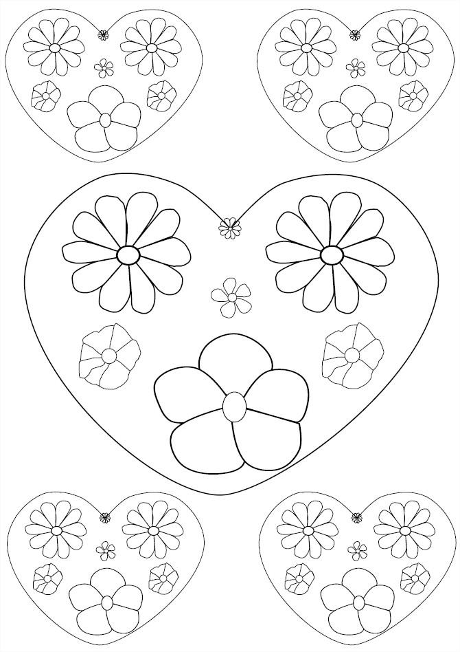 Coloriage coeurs de fleurs