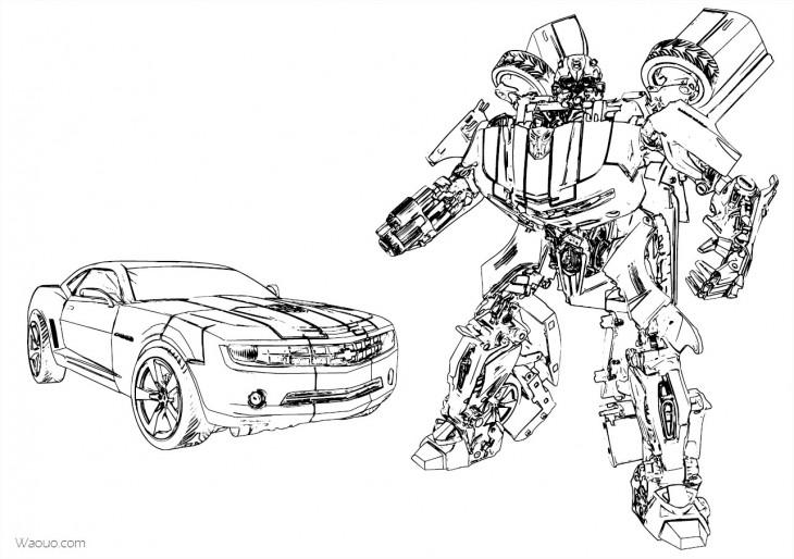 Coloriage Transformers autobot Camaro