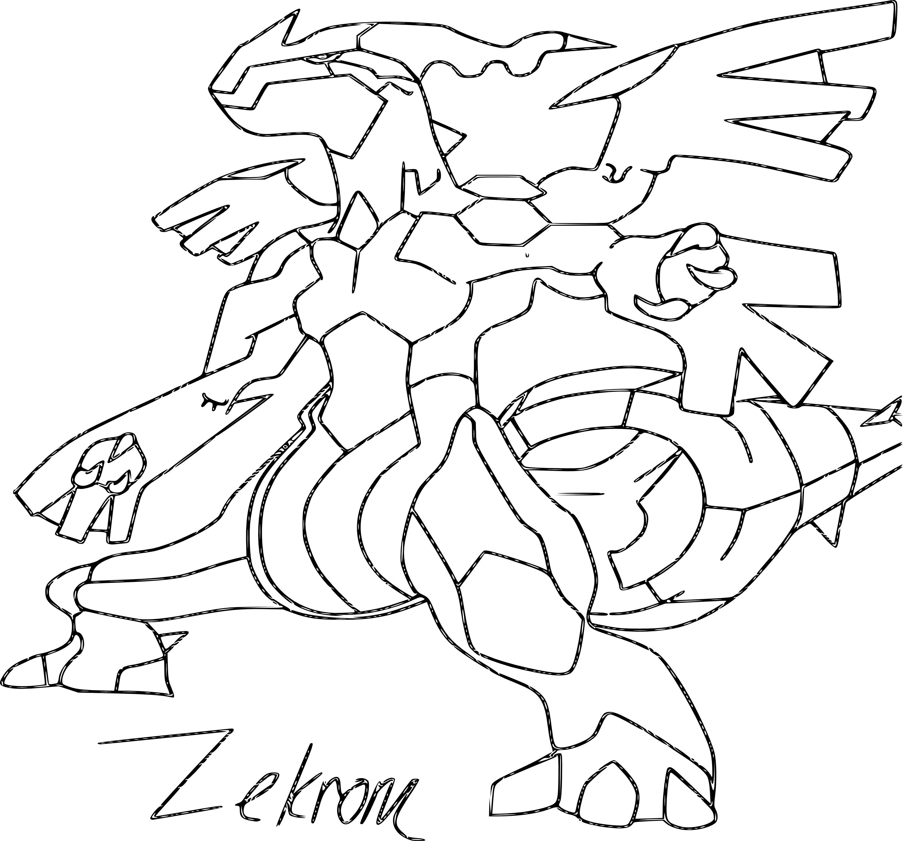 Zekrom coloriage du pokemon zekrom imprimer et colorier - Evolution pokemon legendaire ...