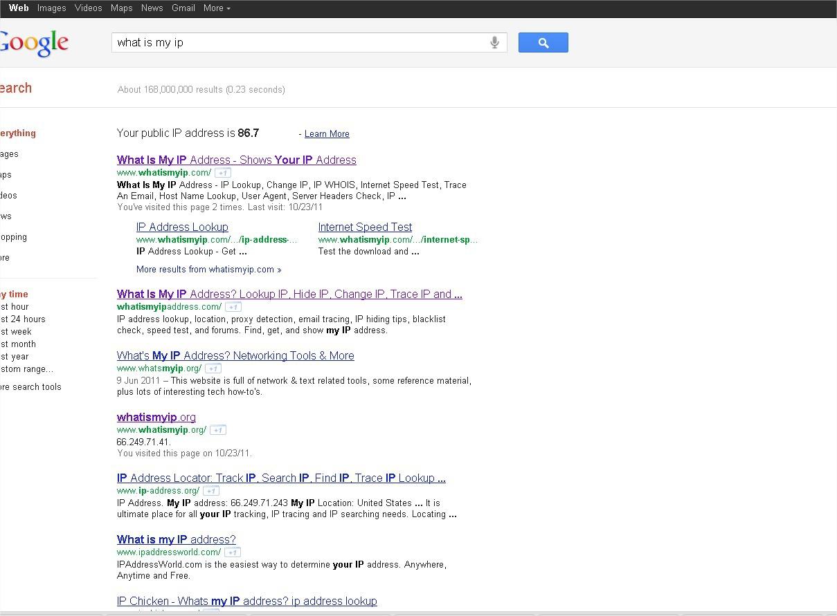 Google donne mon adresse ip