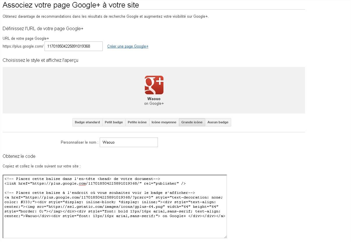 Ajouter page google+ sur votre site