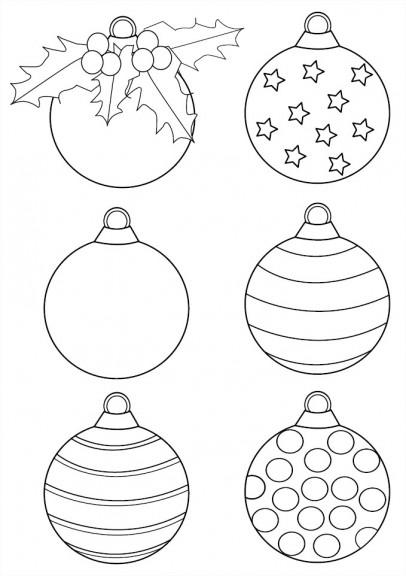 Coloriage 6 boules de noel