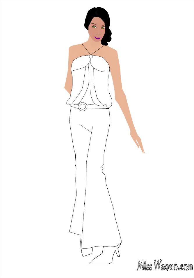 Coloriage miss pantalon