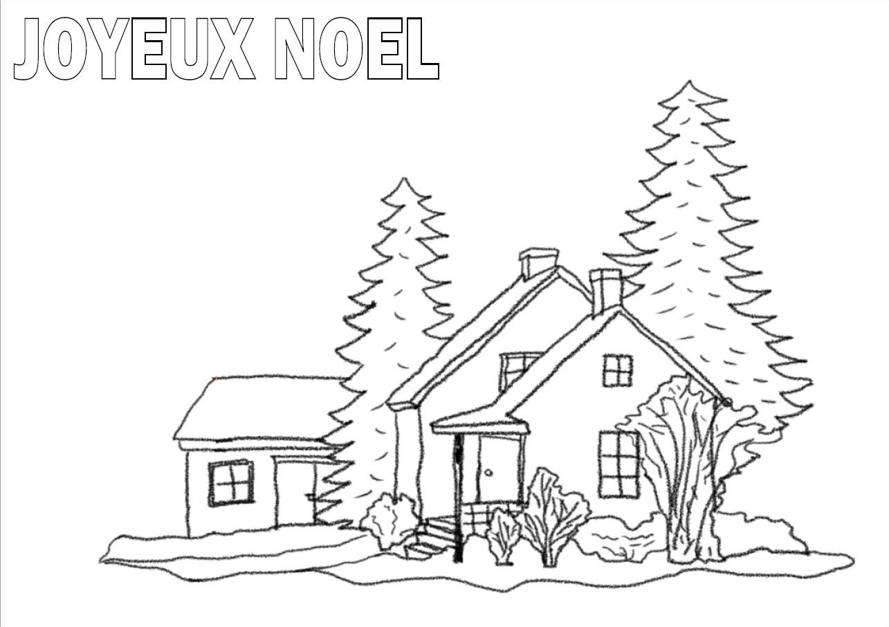Coloriage d un paysage de no l imprimer et colorier - Coloriage village de noel ...