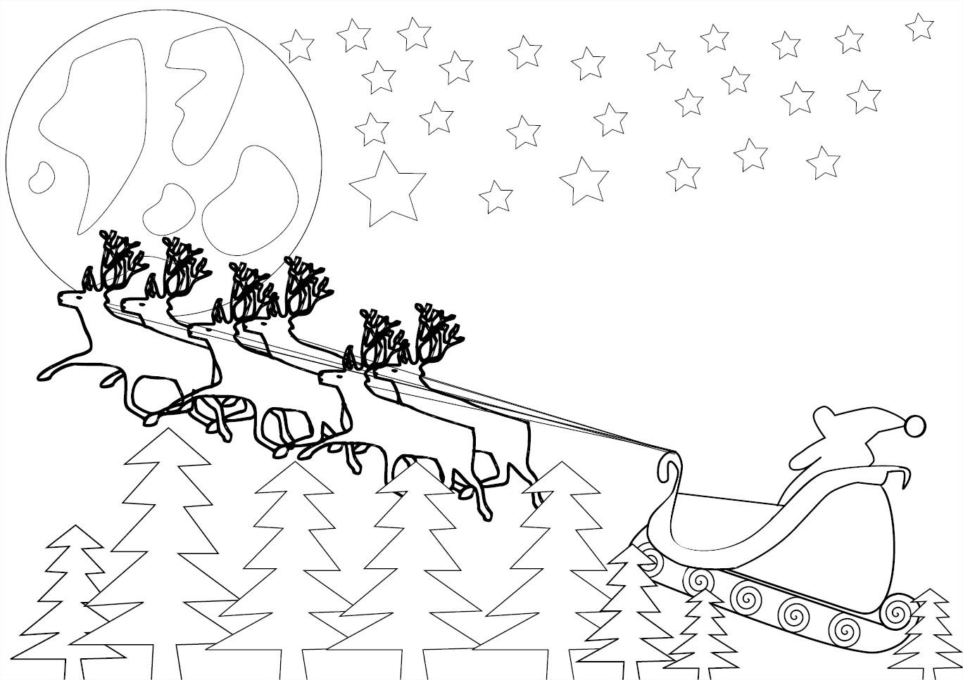 Coloriage rennes du père noël