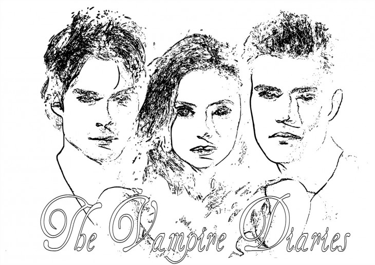 Vampire diaries coloriage de la s rie the vampire - Coloriage vampire a imprimer ...