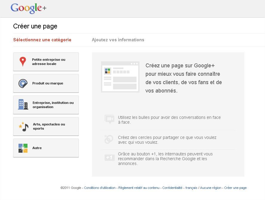 Créer page google +