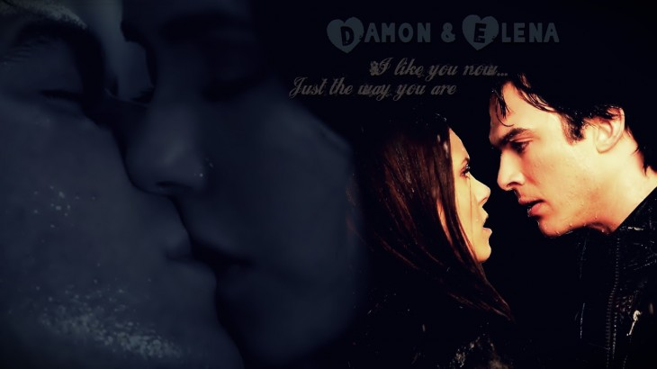 Elena et Damon s'embrasse wallpaper