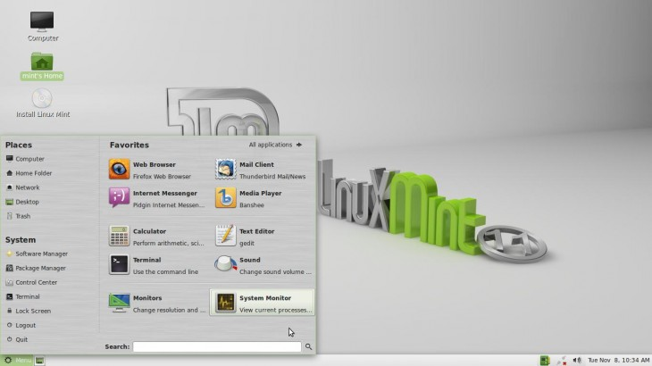 Menu Linux Mint 11