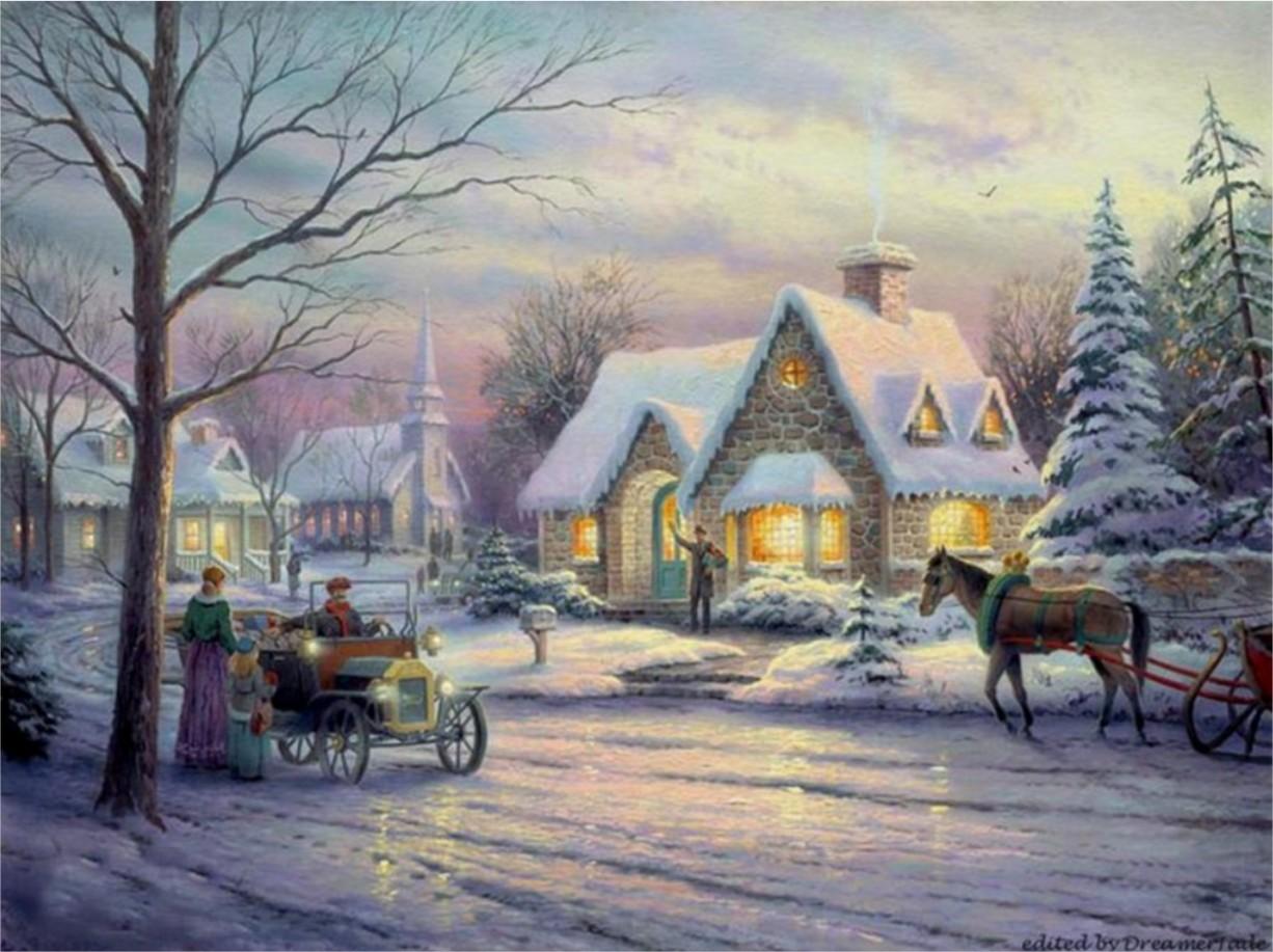 Coloriage D Un Paysage De Noel A Imprimer Et Colorier